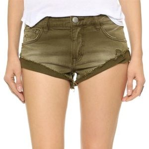 Free People army green/olive cut off shorts